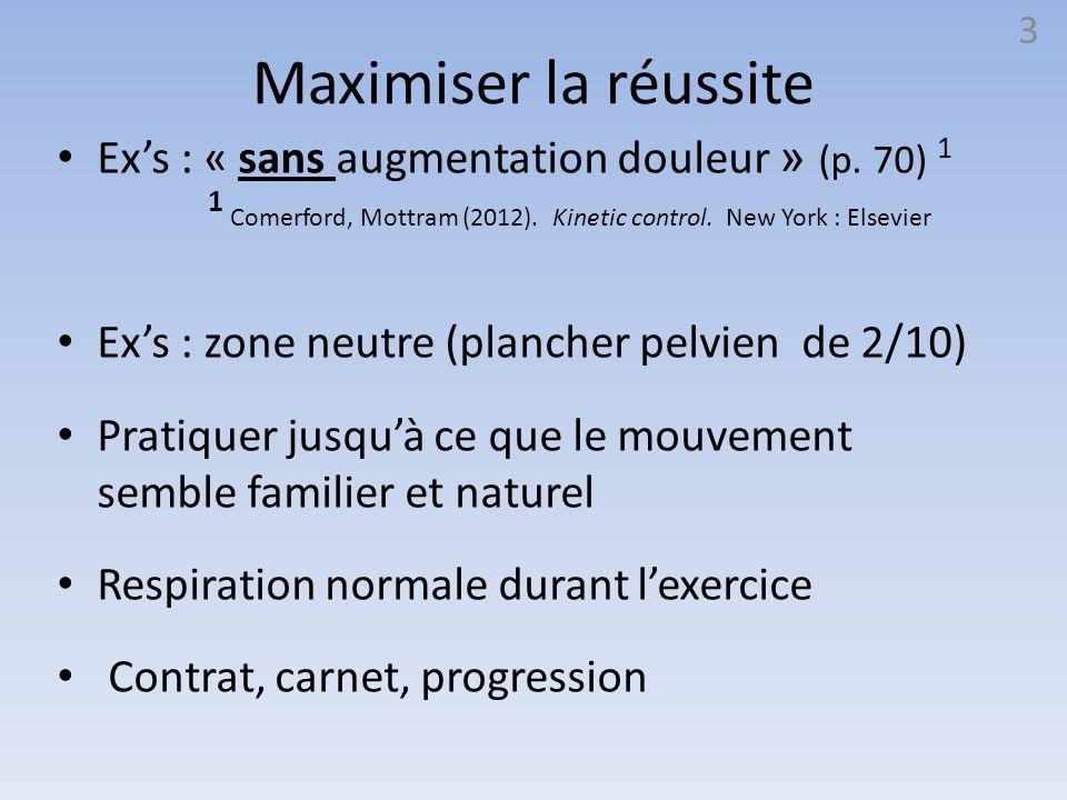 Maximiser la réussite Ex's : « sans augmentation douleur » (p. 70) 1 Ex's : zone neutre (plancher pelvien de 2/10) Pratiquer jusqu'à ce que le mouveme
