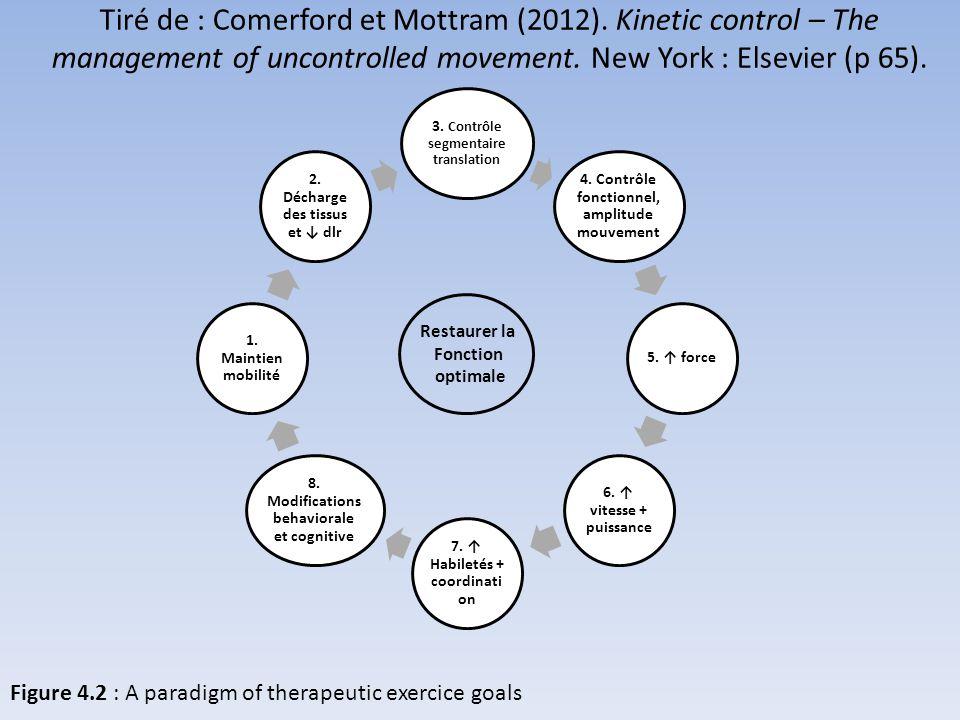 Tiré de : Comerford et Mottram (2012). Kinetic control – The management of uncontrolled movement. New York : Elsevier (p 65). 3. Contrôle segmentaire