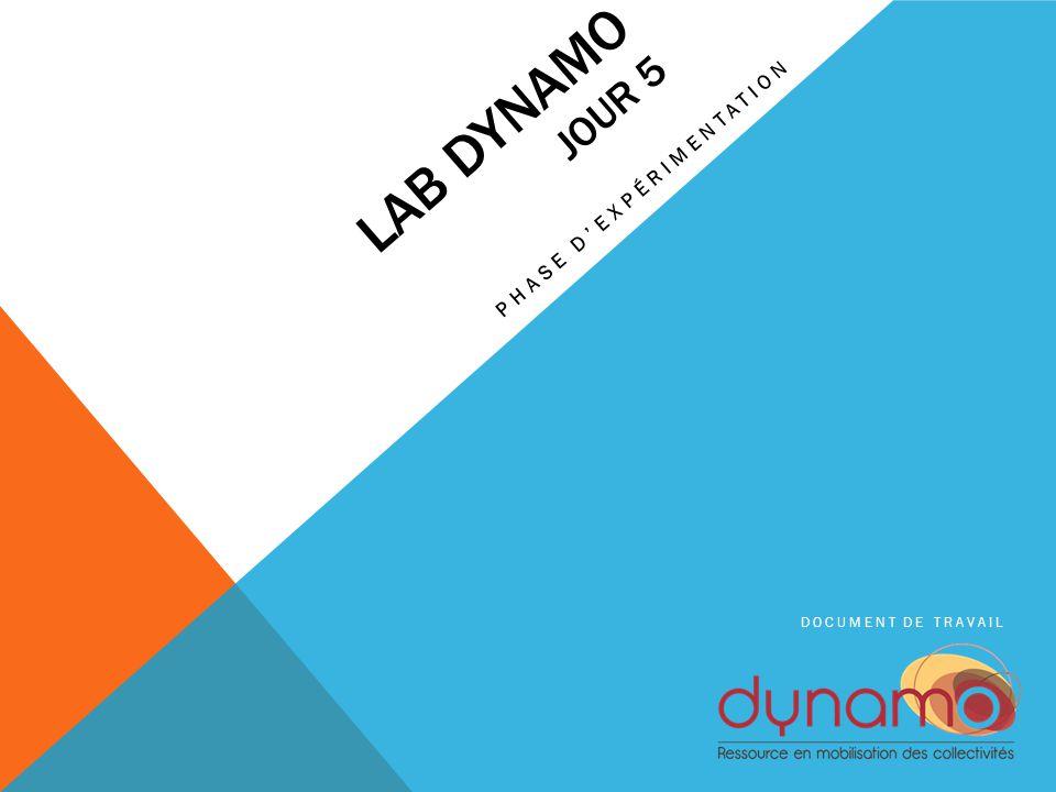 LAB DYNAMO JOUR 5 PHASE D'EXPÉRIMENTATION DOCUMENT DE TRAVAIL