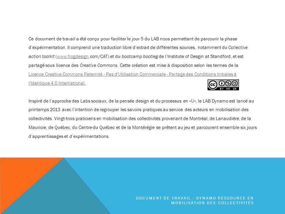 ACTIVITÉS* PHASE DE PROTOTYPAGE DOCUMENT DE TRAVAIL - DYNAMO RESSOURCE EN MOBILISATION DES COLLECTIVITÉS * tirées du Collective action toolkit de frogdesign.com