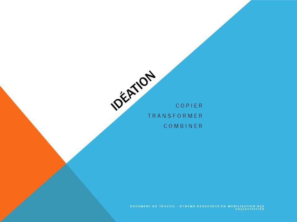 IDÉATION COPIER TRANSFORMER COMBINER DOCUMENT DE TRAVAIL - DYNAMO RESSOURCE EN MOBILISATION DES COLLECTIVITÉS