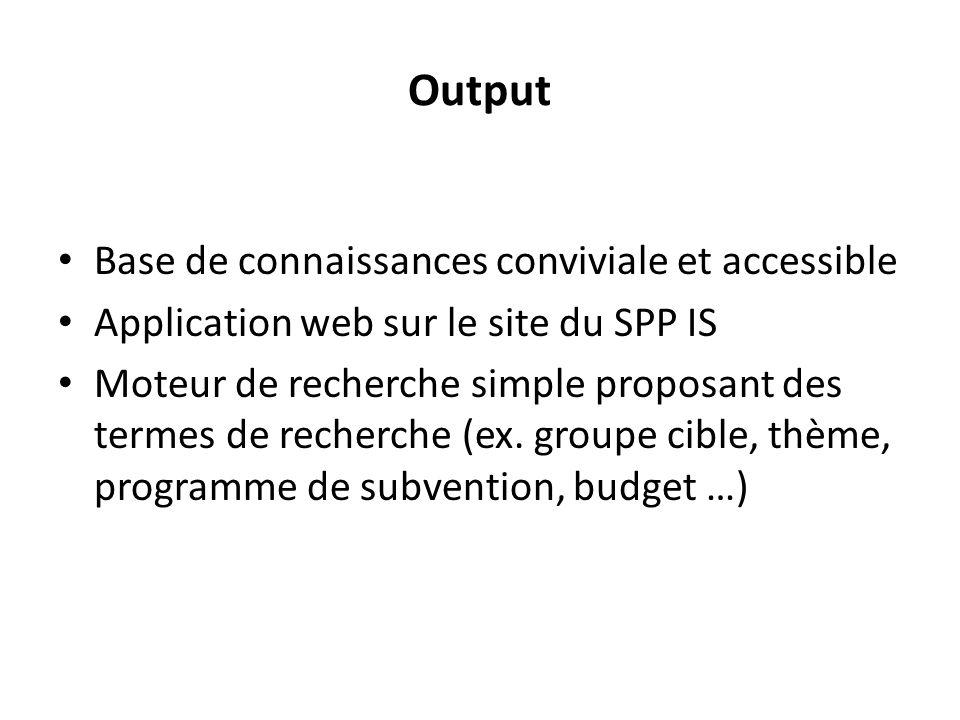 Output Base de connaissances conviviale et accessible Application web sur le site du SPP IS Moteur de recherche simple proposant des termes de recherche (ex.