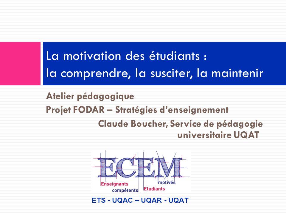Intervenir sur la motivation Le professeurL'étudiant Varie peu ses méthodes Est plus ou moins enthousiaste Pas toujours bien structuré N'entre pas en relation Donne peu de rétroaction Etc.
