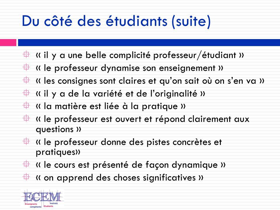 Du côté des étudiants (suite)  « il y a une belle complicité professeur/étudiant »  « le professeur dynamise son enseignement »  « les consignes so