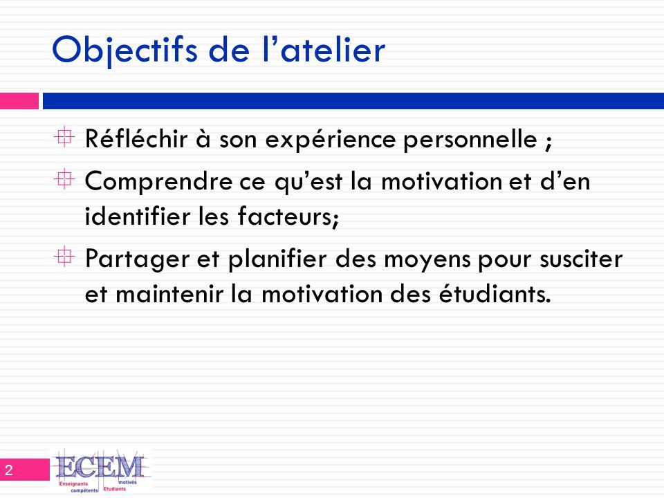 Quelques idées pour motiver…  Les objectifs des cours  Revoir régulièrement les buts et objectifs (crs, activ.)  Réviser le plan de cours avec les étudiants si nécessaire  Communiquer et expliciter les objectifs visés pour les mêmes problèmes  Préciser les étapes du cours, des travaux, etc.