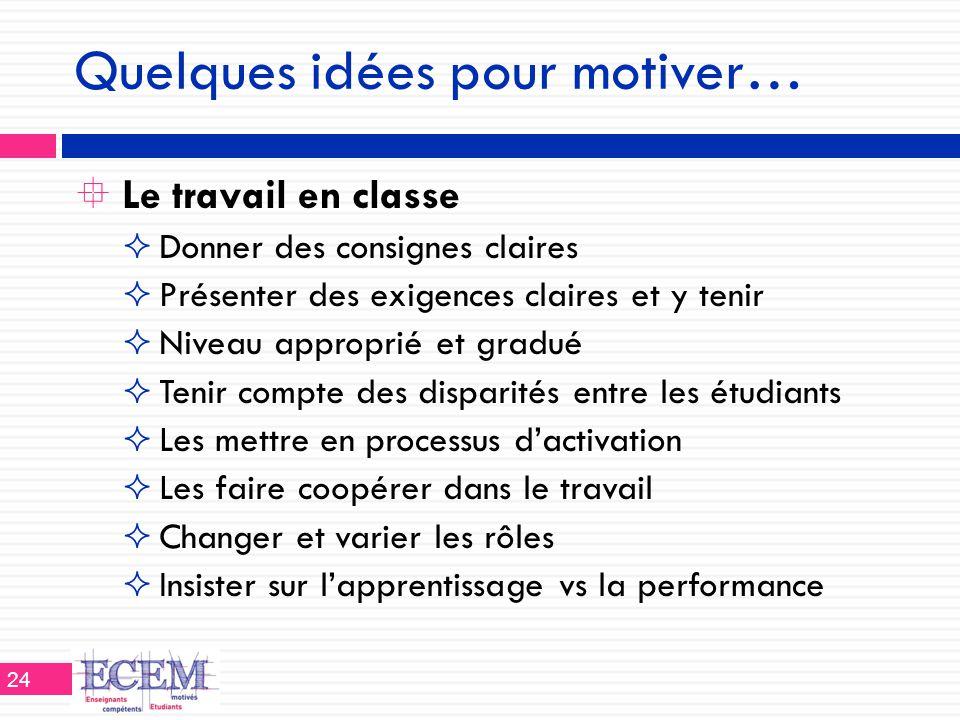 Quelques idées pour motiver…  Le travail en classe  Donner des consignes claires  Présenter des exigences claires et y tenir  Niveau approprié et