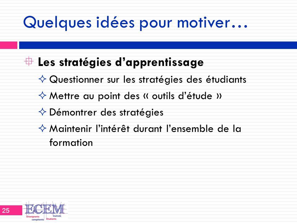 Quelques idées pour motiver…  Les stratégies d'apprentissage  Questionner sur les stratégies des étudiants  Mettre au point des « outils d'étude »