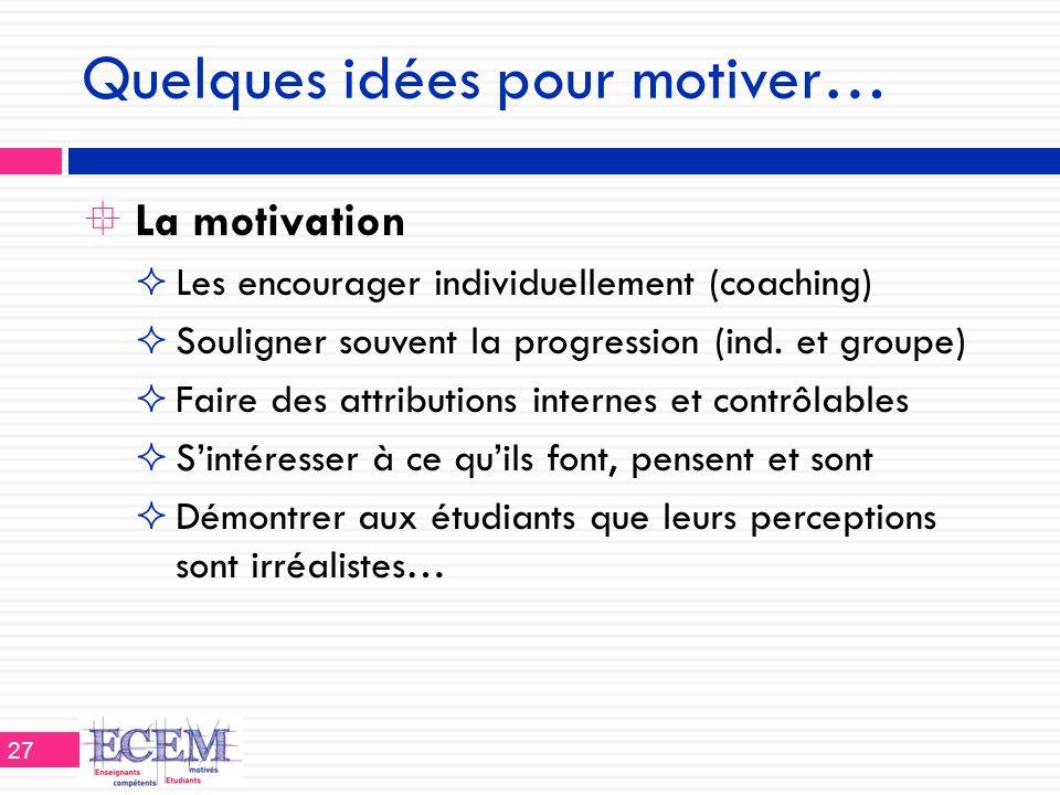 Quelques idées pour motiver…  La motivation  Les encourager individuellement (coaching)  Souligner souvent la progression (ind. et groupe)  Faire