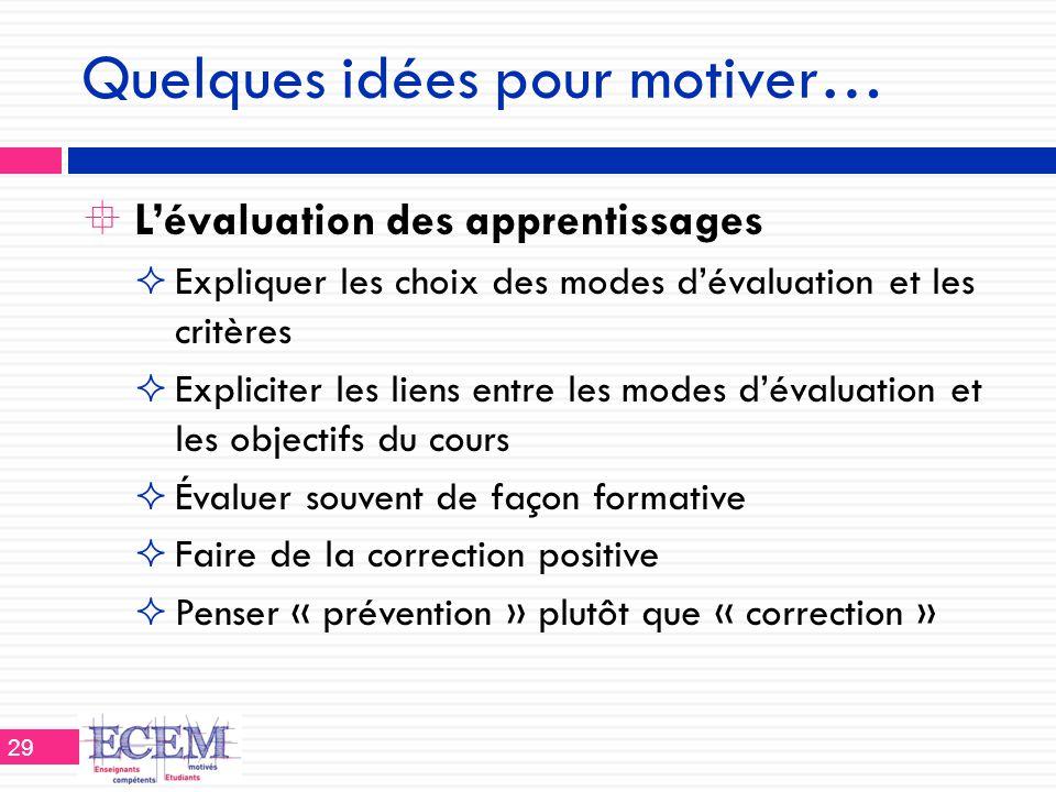 Quelques idées pour motiver…  L'évaluation des apprentissages  Expliquer les choix des modes d'évaluation et les critères  Expliciter les liens ent