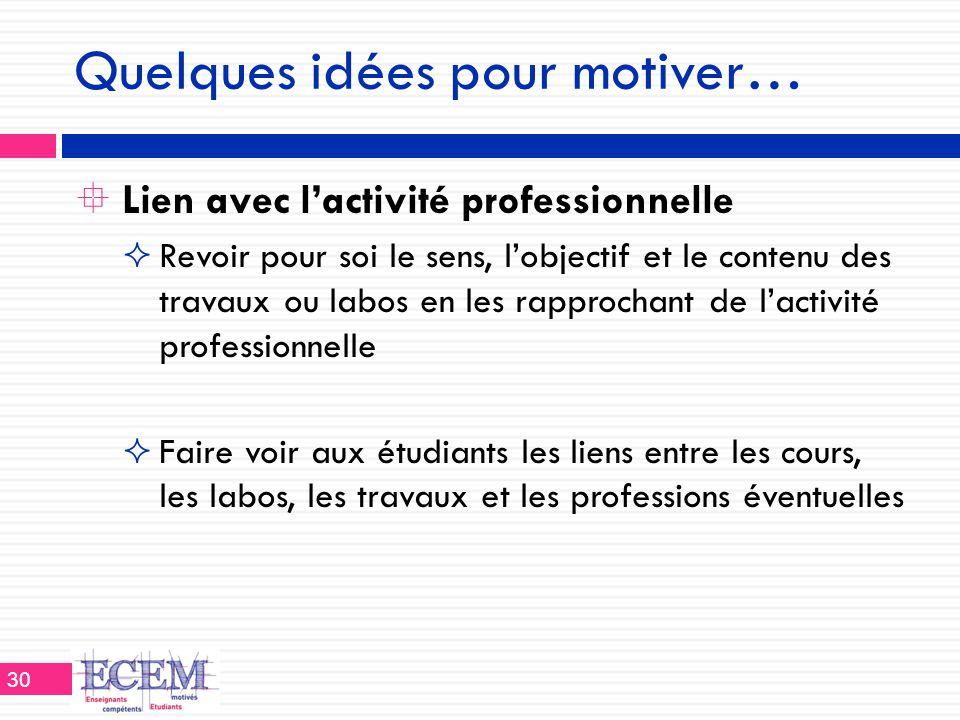 Quelques idées pour motiver…  Lien avec l'activité professionnelle  Revoir pour soi le sens, l'objectif et le contenu des travaux ou labos en les ra