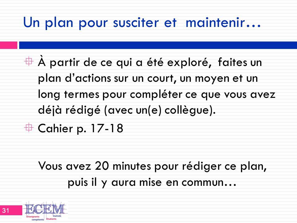 Un plan pour susciter et maintenir…  À partir de ce qui a été exploré, faites un plan d'actions sur un court, un moyen et un long termes pour complét