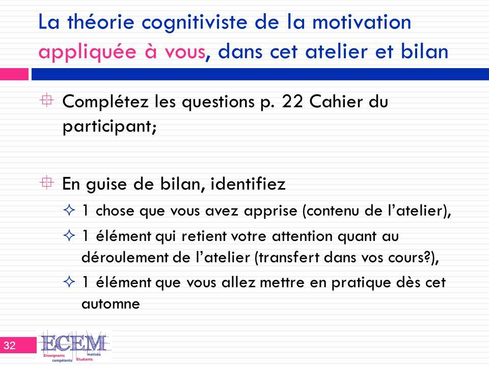 La théorie cognitiviste de la motivation appliquée à vous, dans cet atelier et bilan  Complétez les questions p. 22 Cahier du participant;  En guise