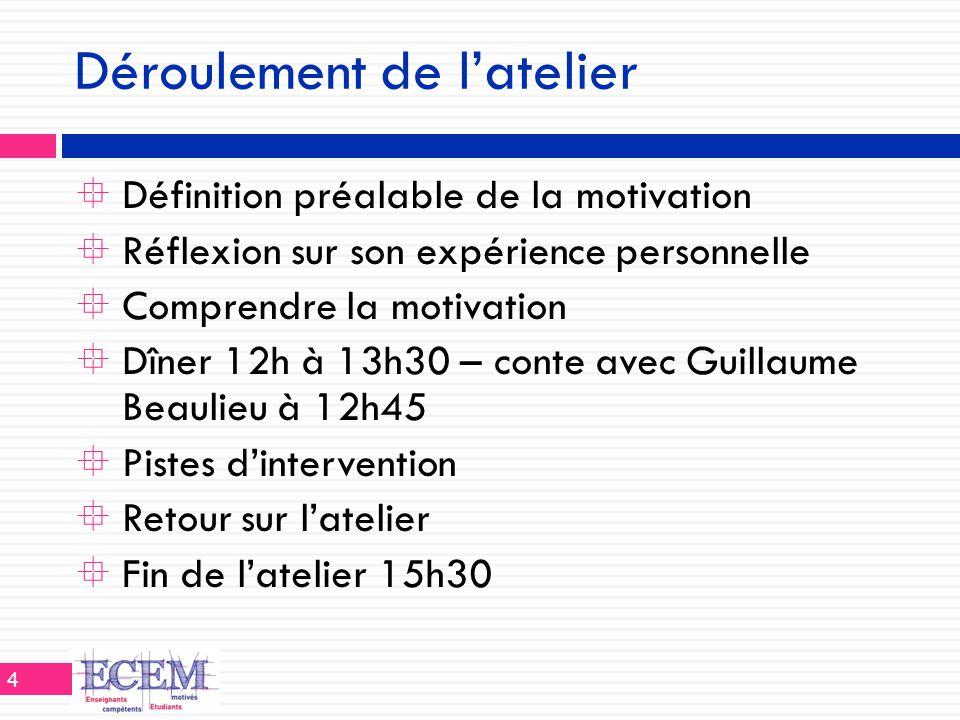 Déroulement de l'atelier  Définition préalable de la motivation  Réflexion sur son expérience personnelle  Comprendre la motivation  Dîner 12h à 1