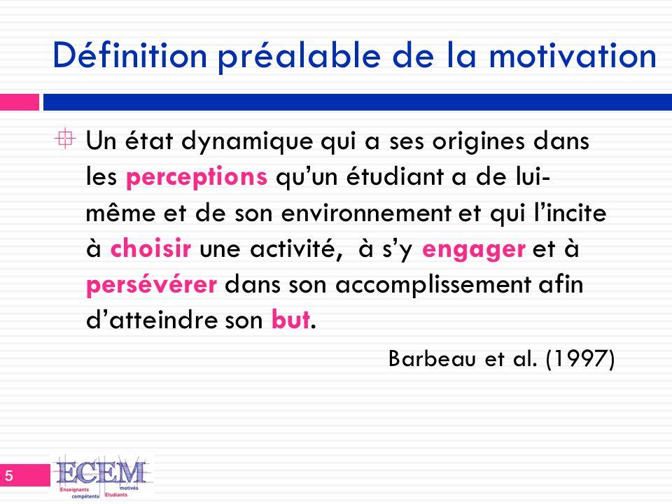 Définition préalable de la motivation  Un état dynamique qui a ses origines dans les perceptions qu'un étudiant a de lui- même et de son environnemen