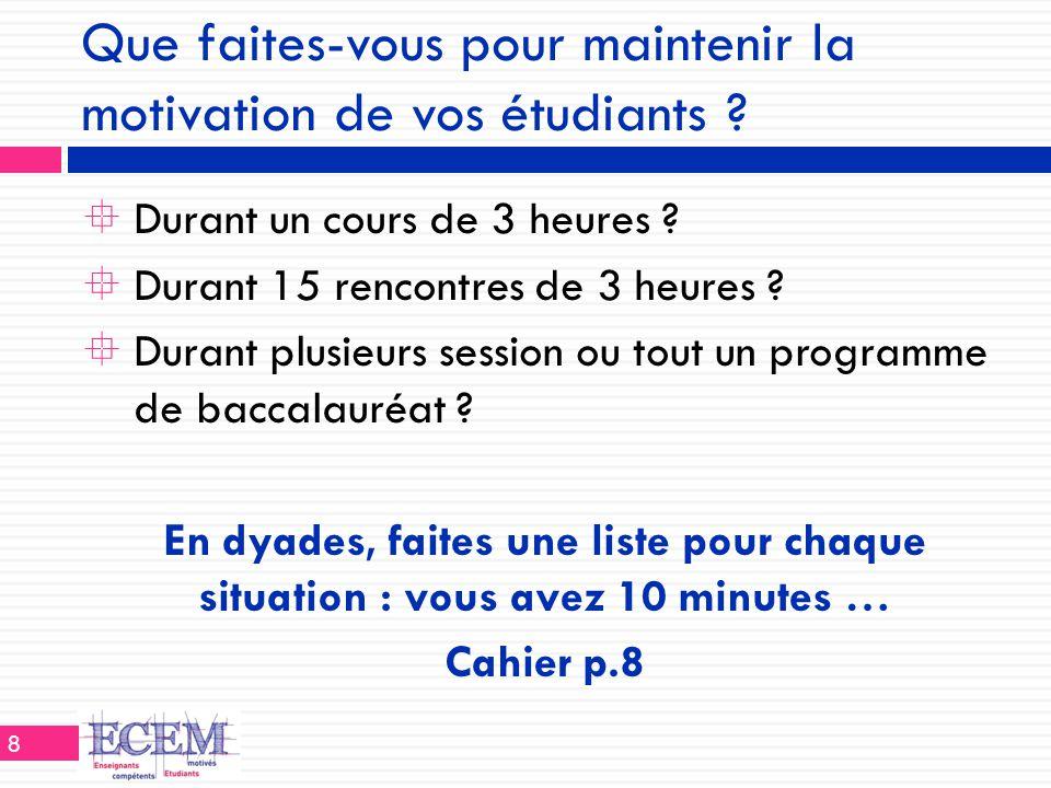 Que faites-vous pour maintenir la motivation de vos étudiants ?  Durant un cours de 3 heures ?  Durant 15 rencontres de 3 heures ?  Durant plusieur