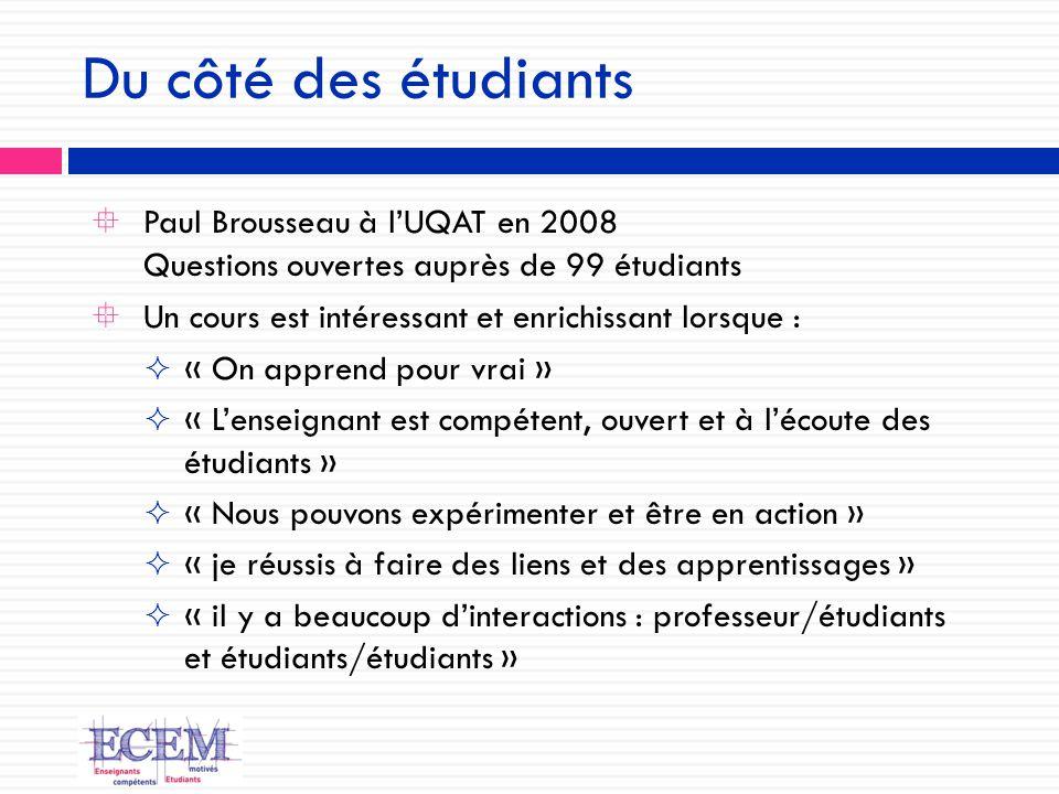 Du côté des étudiants  Paul Brousseau à l'UQAT en 2008 Questions ouvertes auprès de 99 étudiants  Un cours est intéressant et enrichissant lorsque :