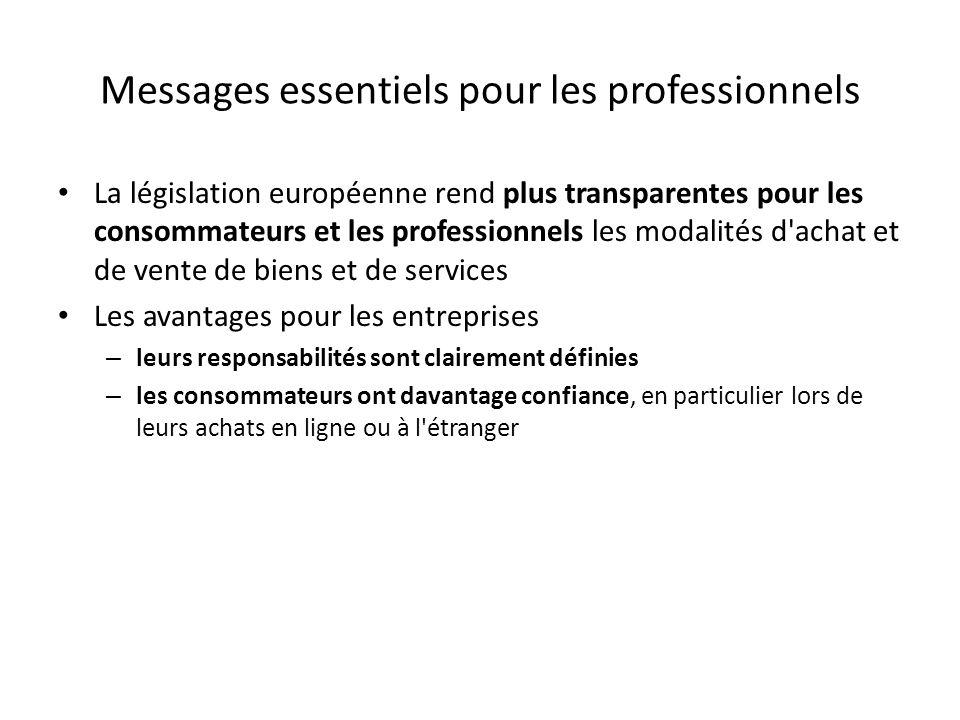 Messages essentiels pour les professionnels La législation européenne rend plus transparentes pour les consommateurs et les professionnels les modalit