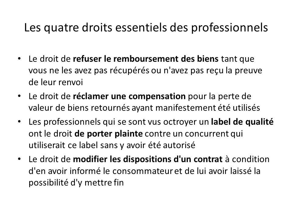 Les quatre droits essentiels des professionnels Le droit de refuser le remboursement des biens tant que vous ne les avez pas récupérés ou n'avez pas r