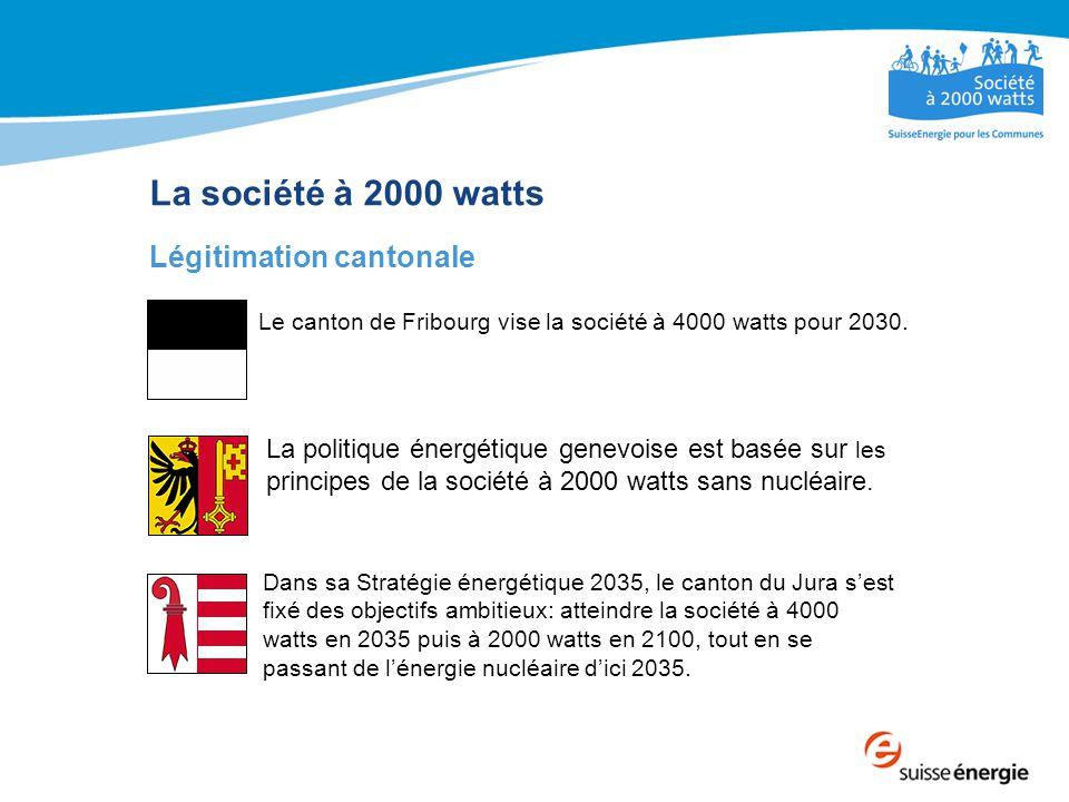 La société à 2000 watts Légitimation cantonale Le canton de Fribourg vise la société à 4000 watts pour 2030.