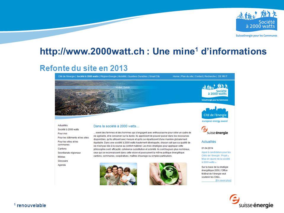 http://www.2000watt.ch : Une mine 1 d'informations Refonte du site en 2013 1 renouvelable