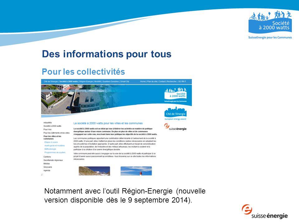 Des informations pour tous Pour les collectivités Notamment avec l'outil Région-Energie (nouvelle version disponible dès le 9 septembre 2014).