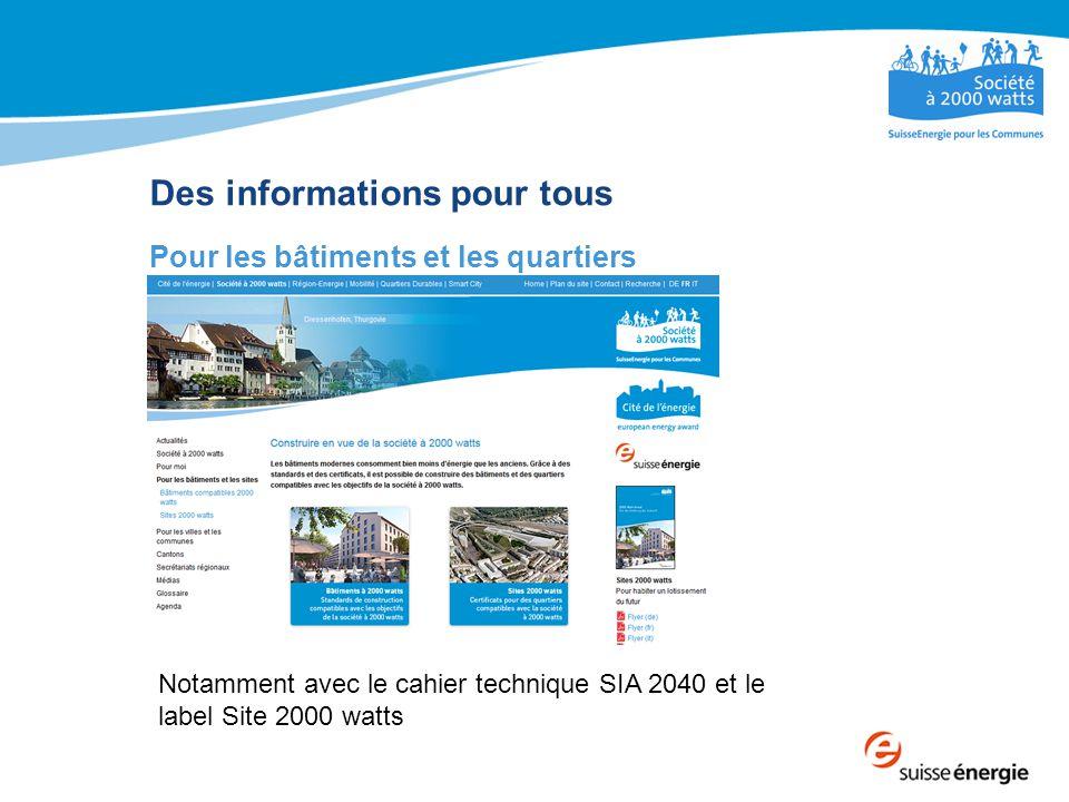 Des informations pour tous Pour les bâtiments et les quartiers Notamment avec le cahier technique SIA 2040 et le label Site 2000 watts