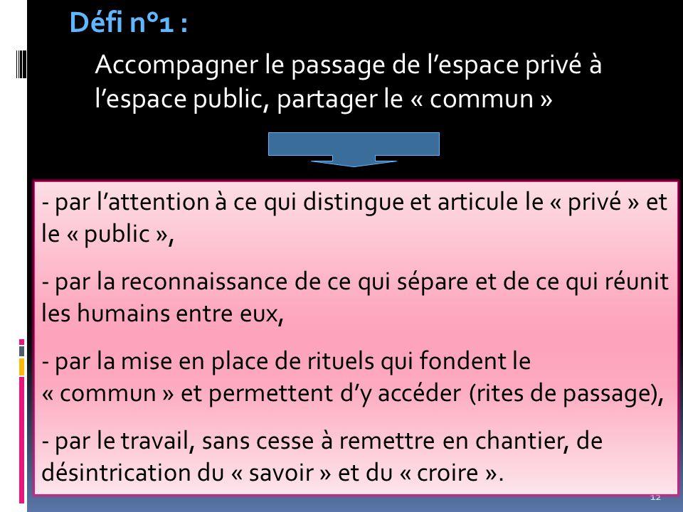 12 Défi n°1 : Accompagner le passage de l'espace privé à l'espace public, partager le « commun » - par l'attention à ce qui distingue et articule le «