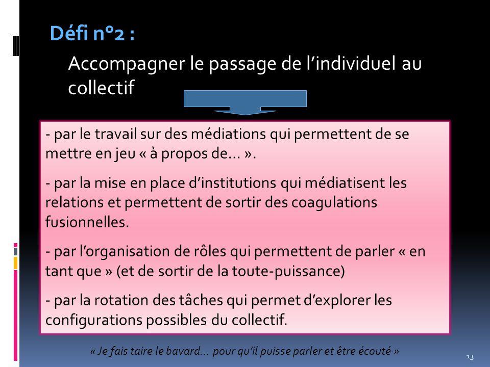 13 Défi n°2 : Accompagner le passage de l'individuel au collectif - par le travail sur des médiations qui permettent de se mettre en jeu « à propos de