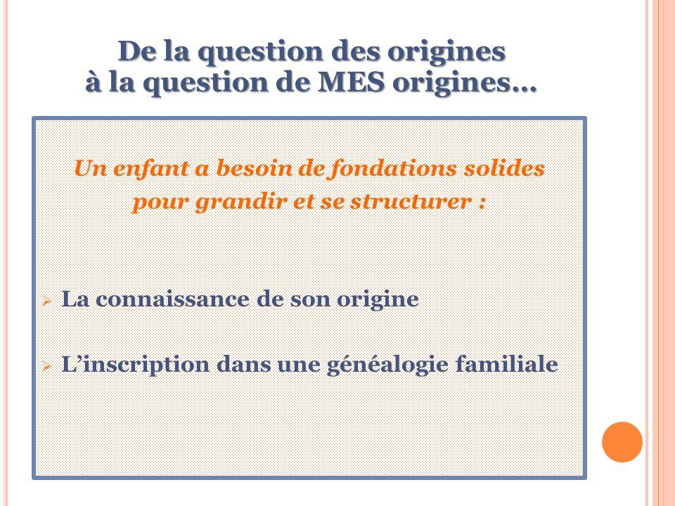 De la question des origines à la question de MES origines… Un enfant a besoin de fondations solides pour grandir et se structurer :  La connaissance de son origine  L'inscription dans une généalogie familiale