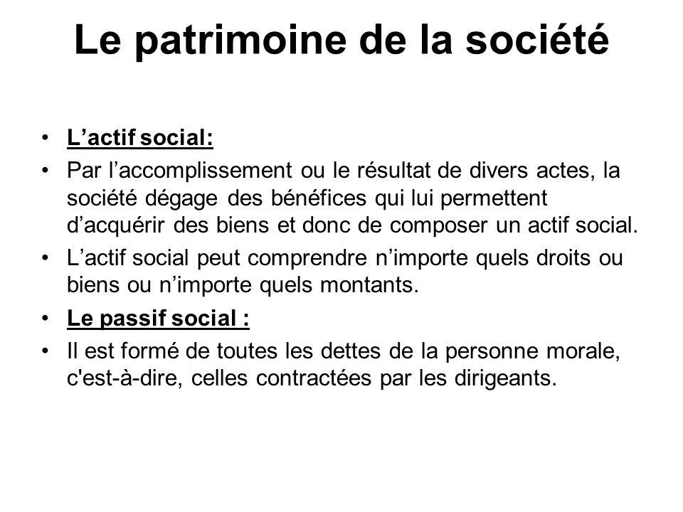 Le patrimoine de la société L'actif social: Par l'accomplissement ou le résultat de divers actes, la société dégage des bénéfices qui lui permettent d'acquérir des biens et donc de composer un actif social.