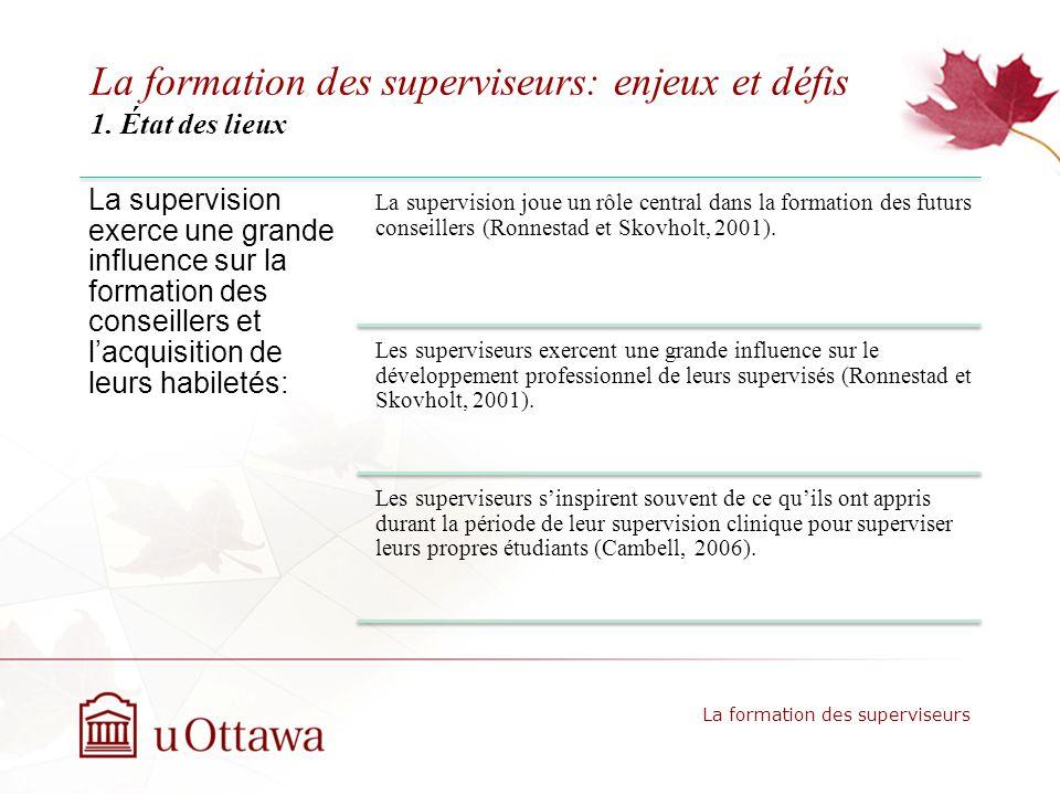 La formation des superviseurs: enjeux et défis 1.