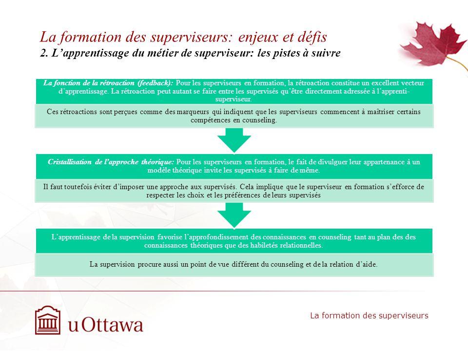 La formation des superviseurs: enjeux et défis 2.