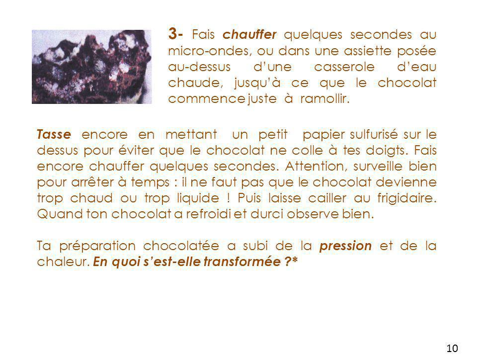 Le cycle des choco-roches Tu peux facilement reproduire le cycle des roches en utilisant du CHOCOLAT et faire toi-même des choco-roches .