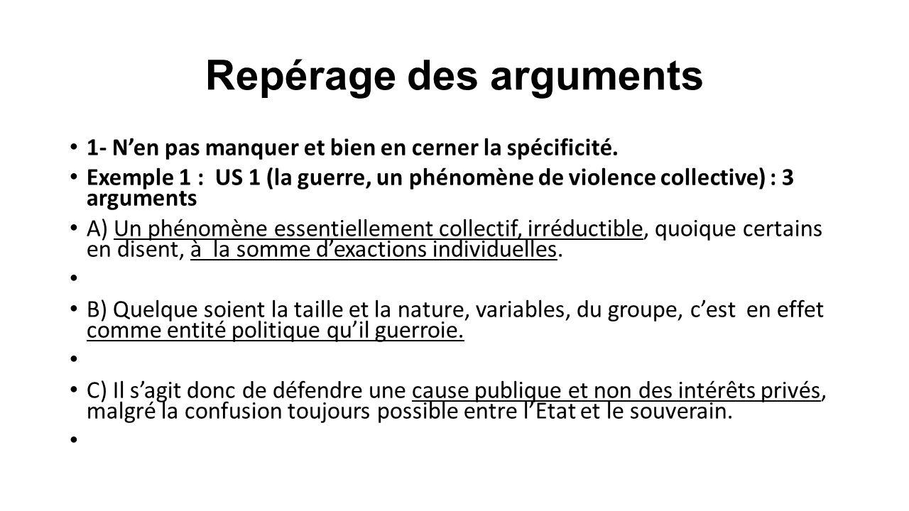 Repérage des arguments 1- N'en pas manquer et bien en cerner la spécificité. Exemple 1 : US 1 (la guerre, un phénomène de violence collective) : 3 arg
