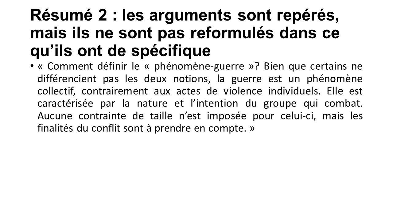 Résumé 2 : les arguments sont repérés, mais ils ne sont pas reformulés dans ce qu'ils ont de spécifique « Comment définir le « phénomène-guerre »? Bie