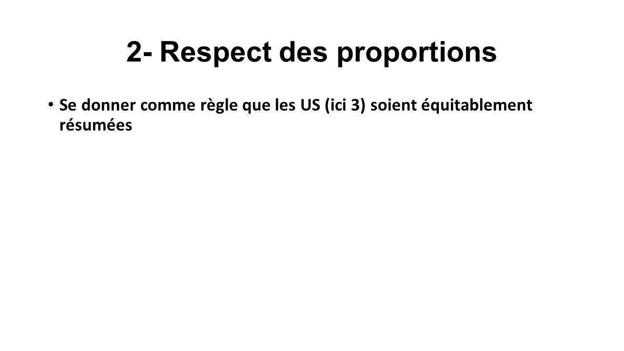 2- Respect des proportions Se donner comme règle que les US (ici 3) soient équitablement résumées