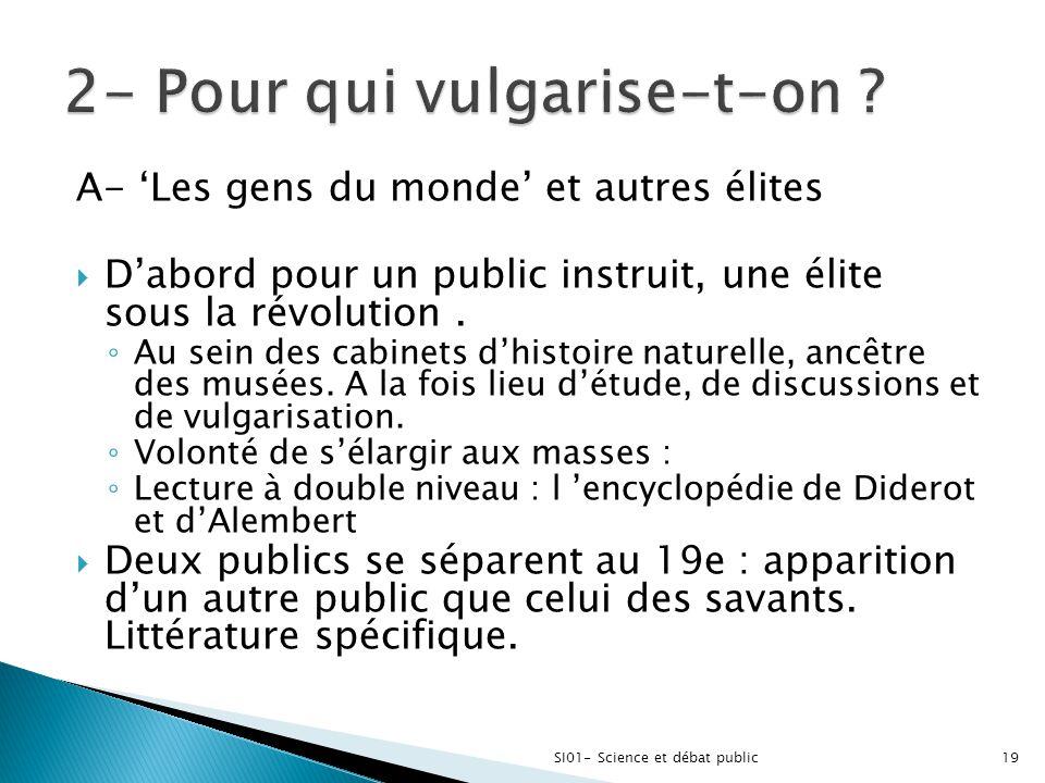 A- 'Les gens du monde' et autres élites  D'abord pour un public instruit, une élite sous la révolution. ◦ Au sein des cabinets d'histoire naturelle,