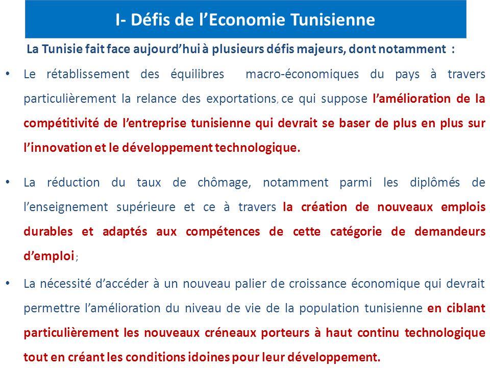 I- Défis de l'Economie Tunisienne La Tunisie fait face aujourd'hui à plusieurs défis majeurs, dont notamment : Le rétablissement des équilibres macro-