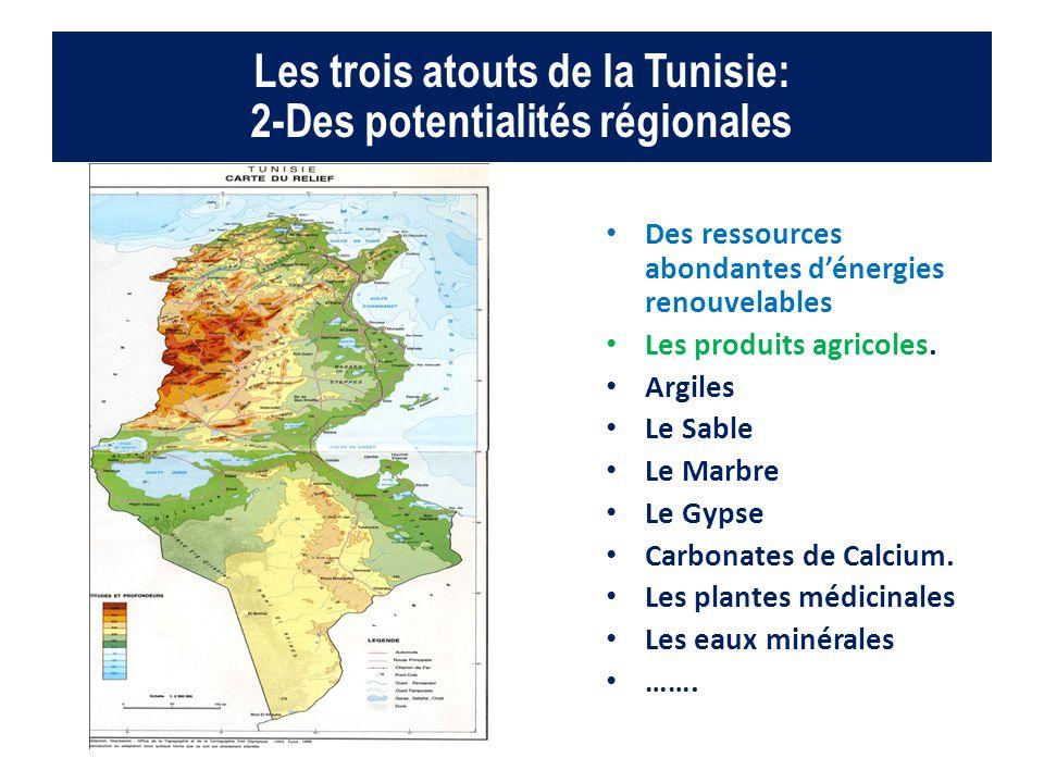 Les trois atouts de la Tunisie: 2-Des potentialités régionales Des ressources abondantes d'énergies renouvelables Les produits agricoles. Argiles Le S