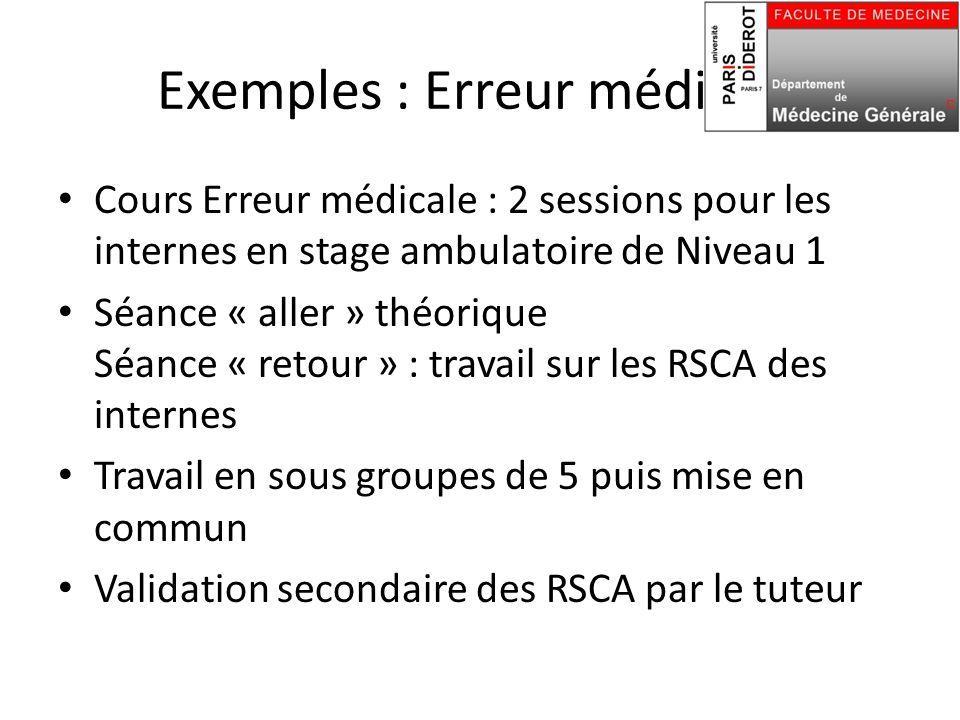 Exemples : Erreur médicale Cours Erreur médicale : 2 sessions pour les internes en stage ambulatoire de Niveau 1 Séance « aller » théorique Séance « r