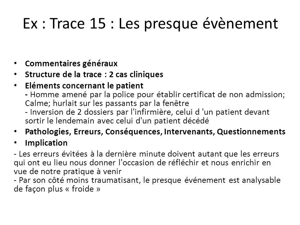 Ex : Trace 15 : Les presque évènement Commentaires généraux Structure de la trace : 2 cas cliniques Eléments concernant le patient - Homme amené par l
