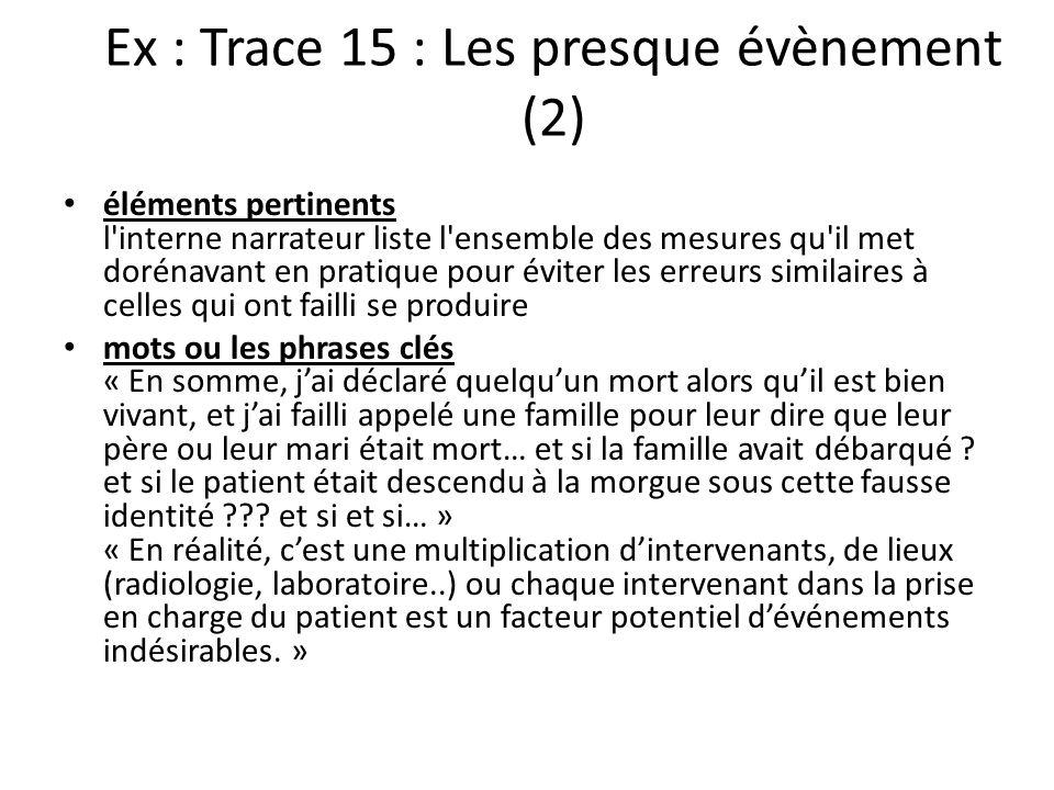 Ex : Trace 15 : Les presque évènement (2) éléments pertinents l'interne narrateur liste l'ensemble des mesures qu'il met dorénavant en pratique pour é