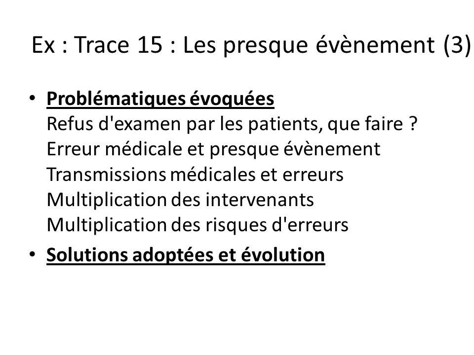 Ex : Trace 15 : Les presque évènement (3) Problématiques évoquées Refus d'examen par les patients, que faire ? Erreur médicale et presque évènement Tr