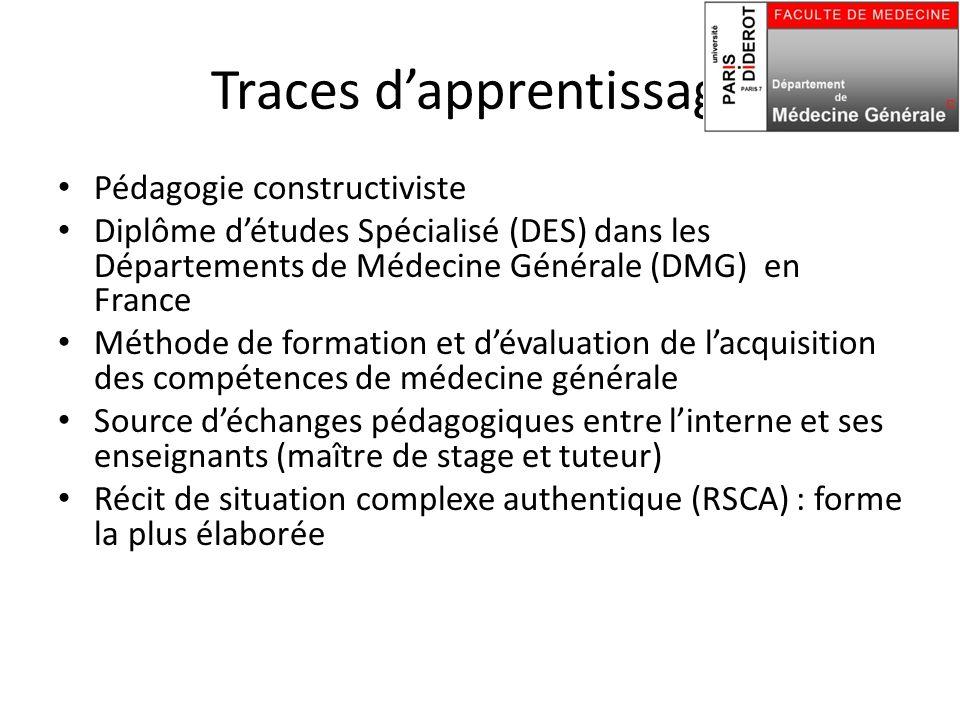 Traces d'apprentissage Pédagogie constructiviste Diplôme d'études Spécialisé (DES) dans les Départements de Médecine Générale (DMG) en France Méthode de formation et d'évaluation de l'acquisition des compétences de médecine générale Source d'échanges pédagogiques entre l'interne et ses enseignants (maître de stage et tuteur) Récit de situation complexe authentique (RSCA) : forme la plus élaborée