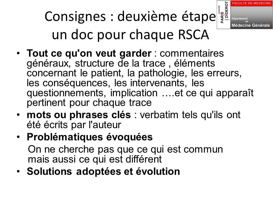 Consignes : deuxième étape un doc pour chaque RSCA Tout ce qu'on veut garder : commentaires généraux, structure de la trace, éléments concernant le pa