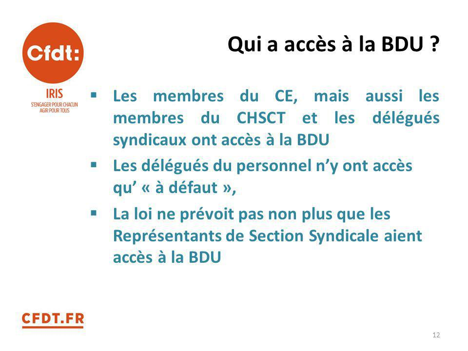 Qui a accès à la BDU ?  Les membres du CE, mais aussi les membres du CHSCT et les délégués syndicaux ont accès à la BDU  Les délégués du personnel n