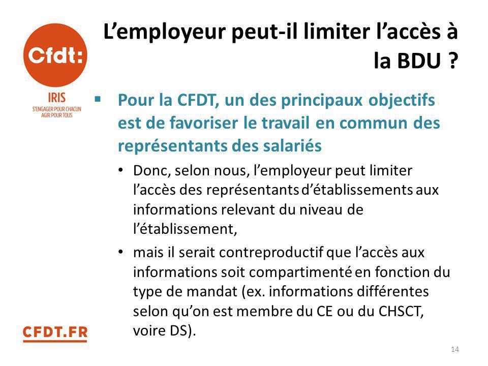 L'employeur peut-il limiter l'accès à la BDU ?  Pour la CFDT, un des principaux objectifs est de favoriser le travail en commun des représentants des