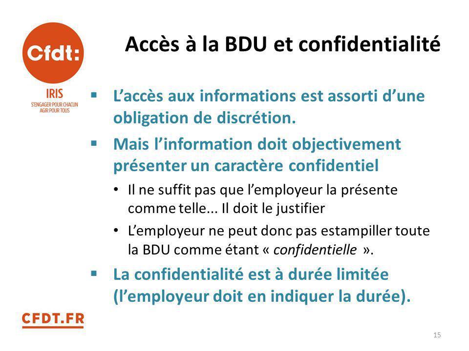 Accès à la BDU et confidentialité  L'accès aux informations est assorti d'une obligation de discrétion.  Mais l'information doit objectivement prése