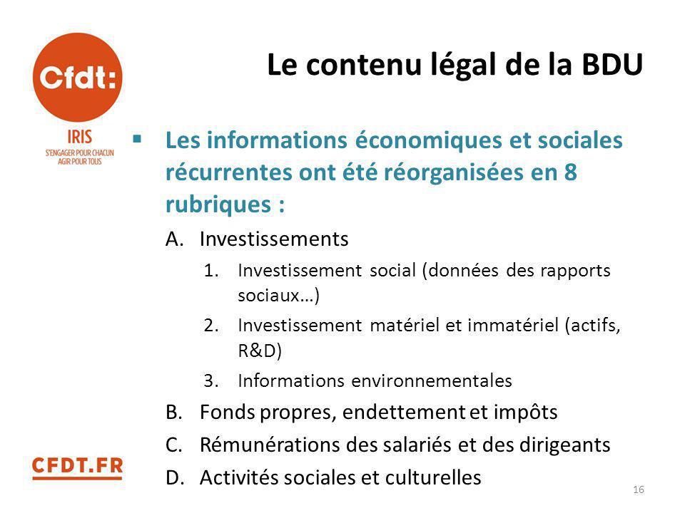 Le contenu légal de la BDU  Les informations économiques et sociales récurrentes ont été réorganisées en 8 rubriques : A.Investissements 1.Investisse