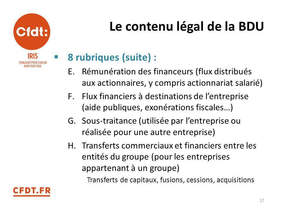 Le contenu légal de la BDU  8 rubriques (suite) : E.Rémunération des financeurs (flux distribués aux actionnaires, y compris actionnariat salarié) F.